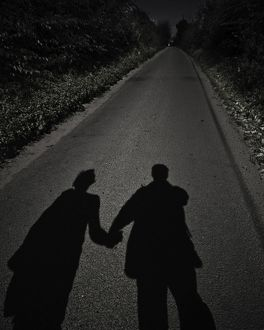 Shadows of two people hand in hand walking along a road,