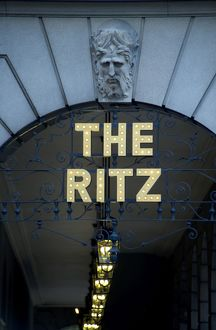 Sign over the arcade entrance to the Ritz hotel,