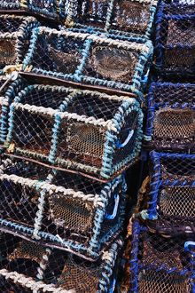 Stacks of lobster and crab pots.