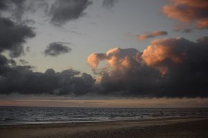 Storm clouds over the North Sea at sunset,