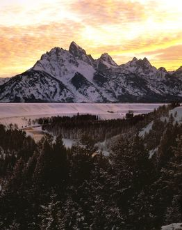 Teton Range at sunset in winter