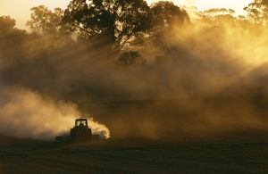 Tractor ploughing in early morning.
