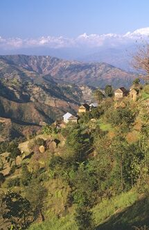 Village on steep slope,