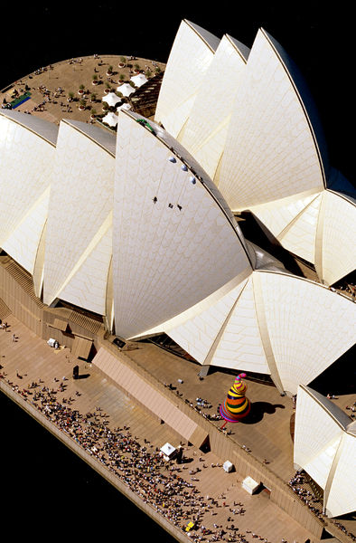 Abseilers descend Sydney Opera House sails