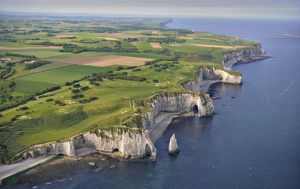 Aerial view of chalk cliffs extending southwest towards Dieppe on the Alabaster Coast, that stretches for 130 km with cliffs 120 m high in places. Haute-Normandie, France