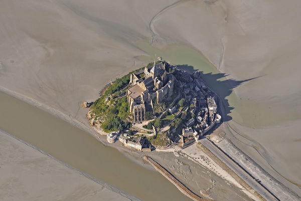 Aerial view of Mont Saint Michel at low tide