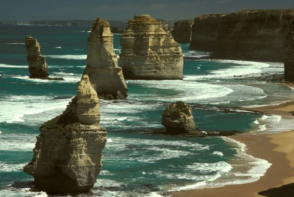 The Twelve Apostles, stack in foreground collapsed in 2005