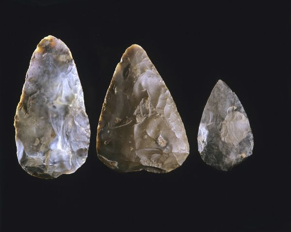 Bifacial hand-axes; left to right: cordate; bout-coupe; pointed, Acheulean, between 400 000 and 100 000 years ago. National Archaeological Museum, Saint Germain en Laye, near Paris, France
