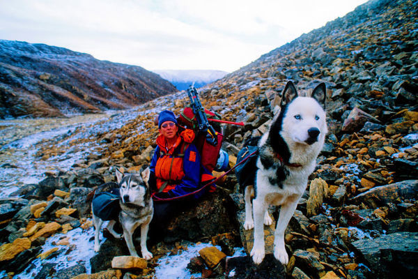BIO21251. Man and dogs resting during an expedition