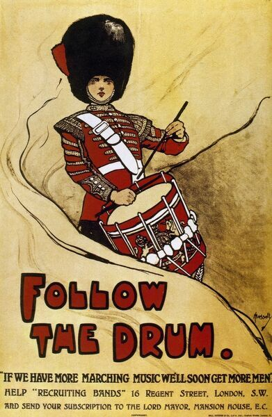 British WW1 poster, calling for subscriptions to support recruiting bands. Designed by John Hassal