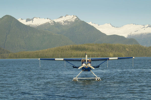 Float plane that takes ecotourists on whale-watching trips on water. Southeastern Alaska, USA