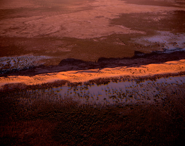 Goyder Lagoon, and sand dunes catching the last of the light, at the southeastern edge of the Simpson Desert. North of Lake Eyre, South Australia