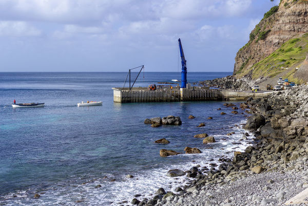 Jetty on Cascade Bay where monthly supplies for the 1700 or so islanders are landed