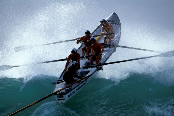 Open boat race, Surf Life Saving Carnival. Mollymook, New South Wales, Australia