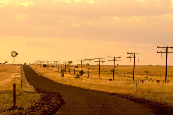 Outback road, evening light