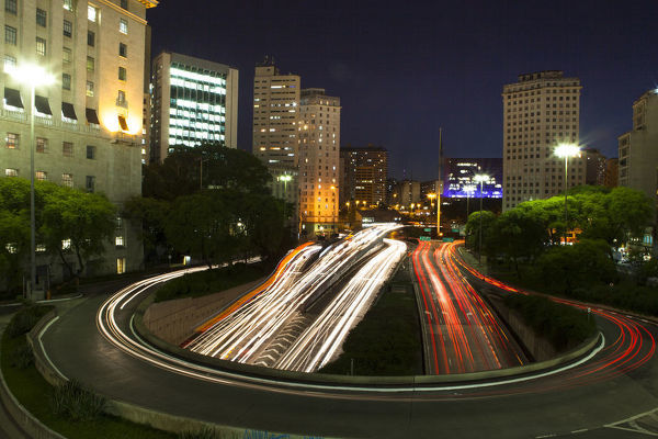 Sao Paolo's Grand Boulevard at night, where it enters a tunnel. The metropolitan complex has 32 million inhabitants, tenth largest in the world. State of Sao Paolo, Brazil