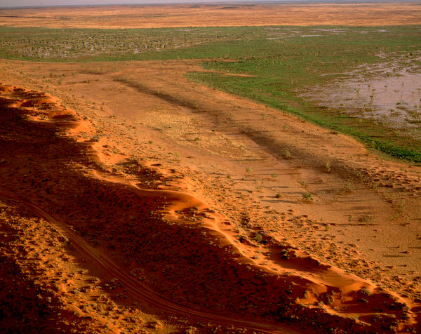 Seasonal swamp near Old Andado station, from the air. The Station is 45 sq km. Simpson Desert, Northern Territory, Australia