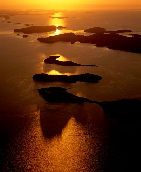 Talbot Bay islands, at dawn, aerial. Kimberley region, Western Australia