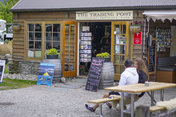 The Trading Post at Glenorchy, shop and cafe catering to the visitors from Queenstown or about to hike in Mount Aspiring National Park. Otago, New Zealand