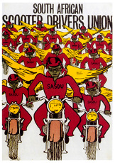 universal images group/anti apartheid poster south african scooter drivers