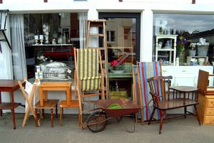 Antiques and bric-a-brac, on display outside a store