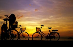 Bicycles sihouetted at sunrise,