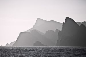 Black and white photograph of St Kilda archipelago at sunrise,