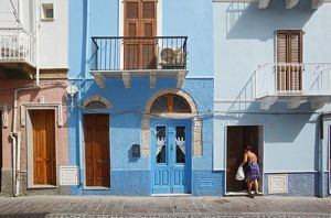 Blue-painted house,