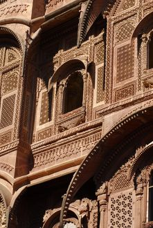 Carved sandstone facade on a palace in Mehrangarh Fort