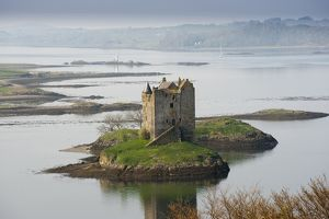 Castle Stalker, a four-storey tower house or keep on a tidal islet on Loch Laich