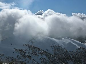 Clouds rolling in over the Razorback Ridge at Mount Hotham