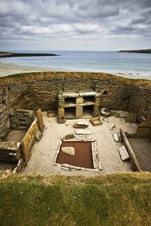 Excavated neolithic settlement at Skara Brae.