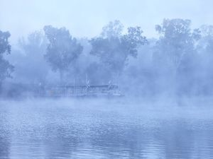 Ferry service across the Murray River at Morgan in morning fog
