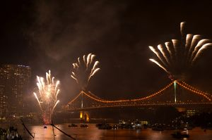 Fireworks on the Story Bridge during the Riverfire Festival