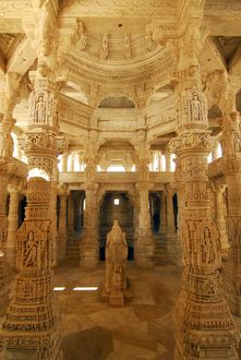 The Jain temple of Ranakpur, called the Chaumukha (four-faced) temple, built in 1439