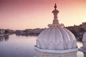 Lake Palace Hotel at sunrise.
