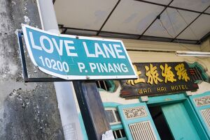 Love Lane street sign outside the Hotel Wan Hai