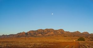 Moon over a small range in the Flinders Ranges,
