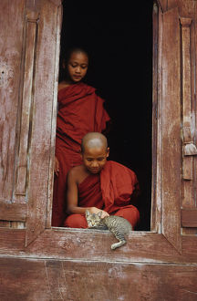 Novice monks playing with cat in doorway