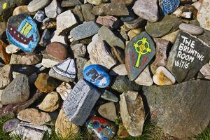 Painted stones depicting Viking heritage on the Isle of Gigha.