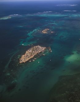 Pigeon Island from the air,