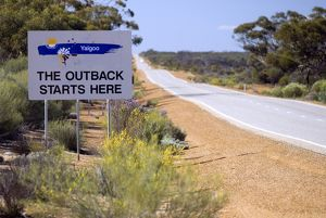 Road sign welcoming travellers to the outback