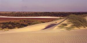 A salt lake and sand dunes,