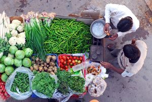Street vendor of vegetables