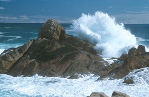 Wave Crashing against Canal Rocks Granitic Formation