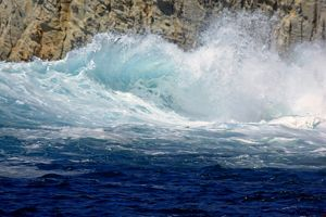 Waves at the entrance to the Cala Fico or Fig Cove,